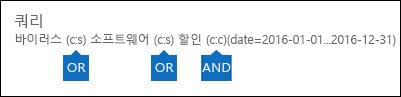 키워드 목록 및 조건을 사용 하 여 때 만들어지는 쿼리의 예