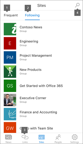 Sites tab of the SharePoint mobile app for iOS