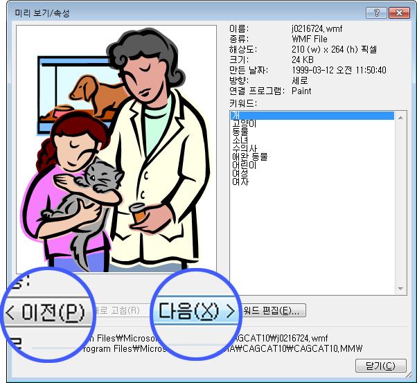 미리 보기/속성 대화 상자에서 이전 및 다음 단추를 선택하여 이미지를 탐색합니다.