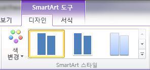 SmartArt 도구에서 디자인 탭에 있는 SmartArt 스타일 그룹