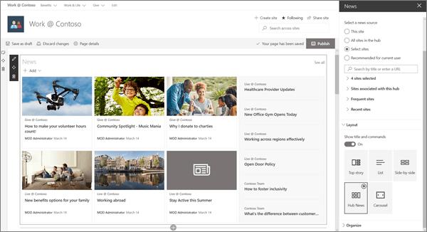 SharePoint Online 샘플 최신 허브 사이트의 뉴스 웹 파트