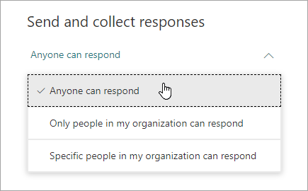 Microsoft Forms의 공유 옵션