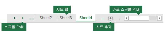 Excel 창 아래쪽에 표시 되는 excel 시트 탭