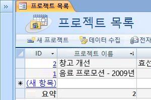 Projects 데이터베이스 서식 파일