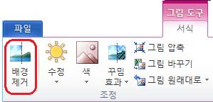 그림 도구 서식 탭 또는 Office 2010 리본의 배경 제거 단추