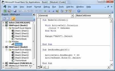 Book1의 Module1에 저장된 두 개의 매크로를 포함하는 모듈