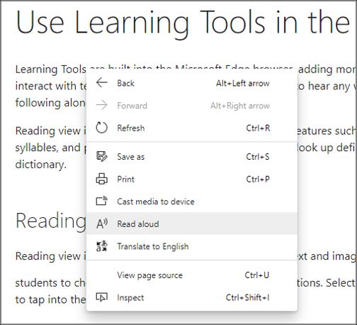 화면 텍스트를 마우스 오른쪽 단추로 클릭할 때 옵션 창에서 소리내어 읽기를 선택 합니다.