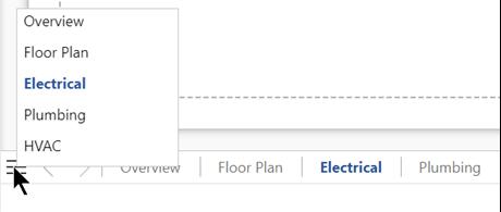 페이지 목록 단추를 선택 하 여 현재 드로잉 파일의 전체 페이지 목록에서 확인 하 고 선택 합니다.
