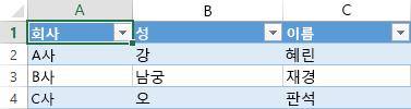 세 열 전체에 세 개의 데이터 레코드를 표시하는 Excel 스프레드시트