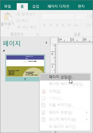 Publisher에 있는 페이지 탐색 창의 페이지 삽입.