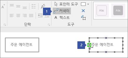 수명선 셰이프에 연결점 강조 1을 가리키는 연결선 도구를 가리키는 녹색 위에 커서를 놓으면 커서 2