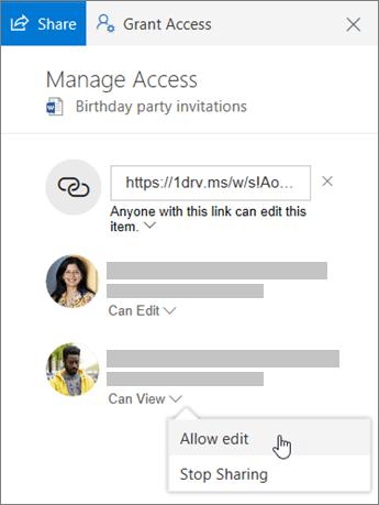 공유 파일의 세부 정보 창에 있는 공유 섹션 스크린샷.