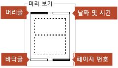미리 보기 그림은 인쇄된 슬라이드 노트 페이지에 표시할 항목을 보여 줍니다.