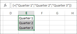 텍스트를 사용하는 세로 배열 상수