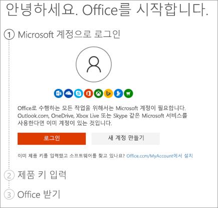 제품 키를 상환하는 setup.office.com 페이지를 표시합니다.