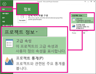 고급 속성이 강조 표시된 프로젝트 정보 메뉴