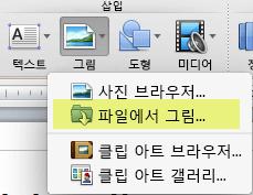 리본의 홈 탭에서 삽입 아래의 그림 > 그림 파일을 클릭합니다.