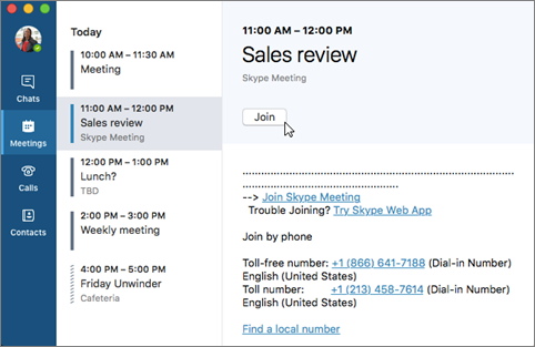 비즈니스용 Skype 모임 참가