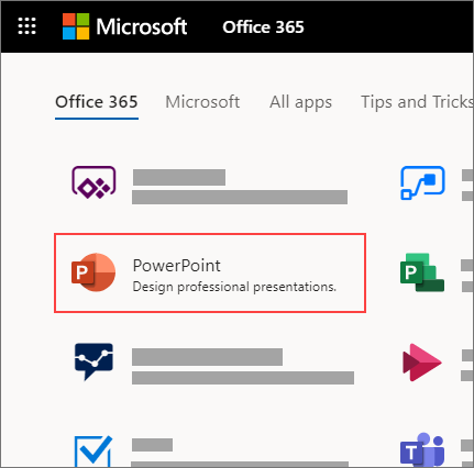 PowerPoint 앱이 강조 표시된 Office 365 홈페이지