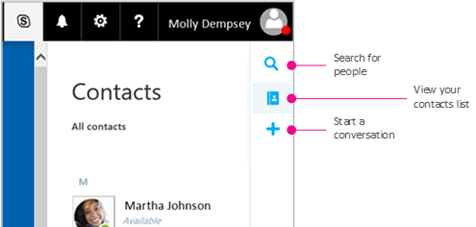 사용할 수 있는 옵션을 보여 주는 사이드바: 사용자 검색, 대화 상대 목록 보기 및 대화 시작