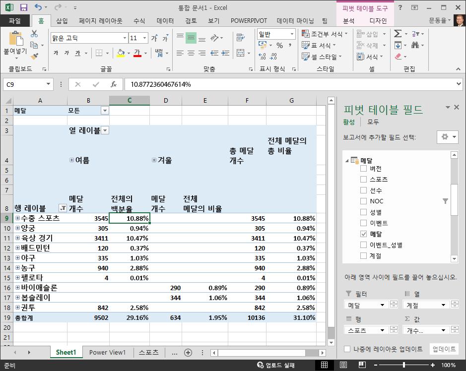 백분율 데이터가 표시되어 있는 피벗 테이블
