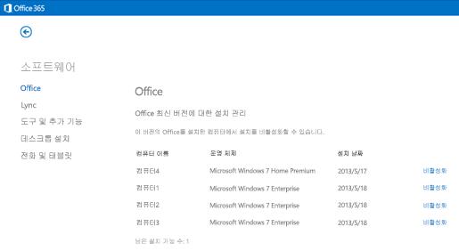 Office 365 활성 설치 관리