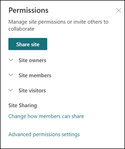SharePoint 사이트 사용 권한 패널