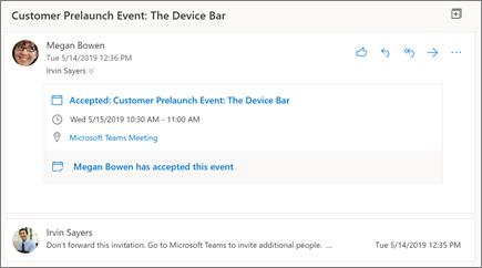 웹용 Outlook의 읽기 창