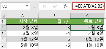 EDATE를 사용 하 여 날짜에서 월을 더하거나 뺄 수 있습니다. 이 경우 = EDATE (A2, B2)는 A2이 고, B2에는 날짜를 더하거나 뺄 개월 수가 있습니다.