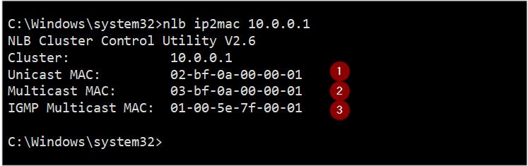 NLB IP2MAC 도구는 해당 클러스터 IP의 MAC 주소 목록을 만듭니다