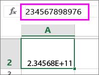 숫자가 12자리 이상인 경우 지수로 표시되는 숫자 값