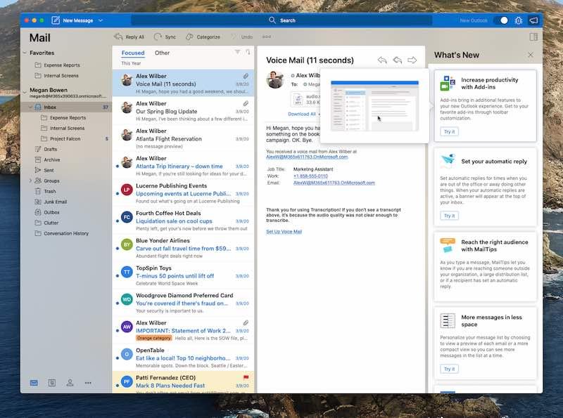새 Outlook을 위한 새로운 기능