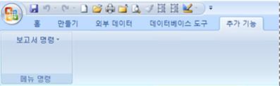 사용자 지정 메뉴가 포함된 추가 기능 탭