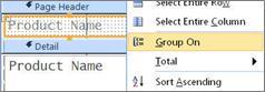 그룹화된 보고서를 만들기 위해 그룹화 기준 옵션 선택