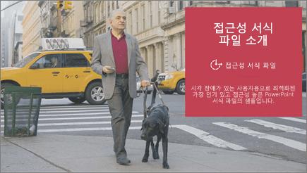 맹인 안내견의 도움을 받고 있는 시각 장애인