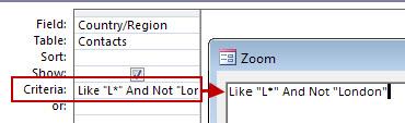 NOT을 사용한 쿼리 디자인(AND NOT 다음에 검색에서 제외할 텍스트 입력) 이미지