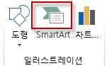 삽입 탭의 일러스트레이션 그룹에 있는 SmartArt