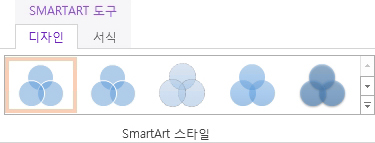 SmartArt 도구 > 디자인 탭에 있는 SmartArt 스타일 그룹