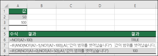 IF, AND 및 OR 함수가 포함된 NOT 예제
