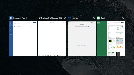 Surface Hub의 작업 보기에서 4개 앱을 보여줍니다.