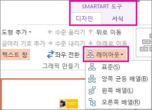 SmartArt 조직도의 레이아웃 옵션