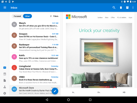 Outlook 받은 편지함의 왼쪽 하단 모서리에 탐색 옵션을 표시해야 합니다.