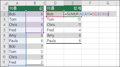 # N/A 오류가 발생하는 일치하지 않는 범위 참조가 포함된 배열 수식의 예입니다.  셀 E2의 수식은 {=SUM(IF(A2:A11=D2,B2:B5))}이며 Ctrl+Shift+Enter를 사용하여 입력되어야 합니다.