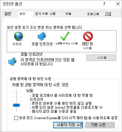 사용자 지정 수준 단추를 보여 주는 Internet Explorer 옵션의 보안 탭