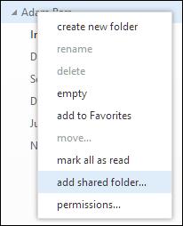 Outlook Web App 공유 폴더 추가 마우스 오른쪽 단추 클릭 메뉴 옵션
