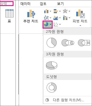 삽입 탭의 차트 그룹에 있는 원형 차트 옵션