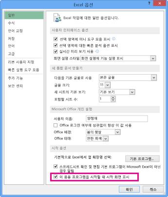 Excel 옵션 대화 상자의 시작 옵션