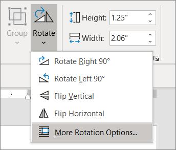 회전 옵션이 더 많이 선택된 회전 메뉴를 선택합니다.