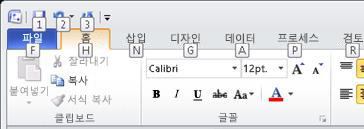 키 설명과 함께 Visio 2010 리본 메뉴가 표시됩니다.