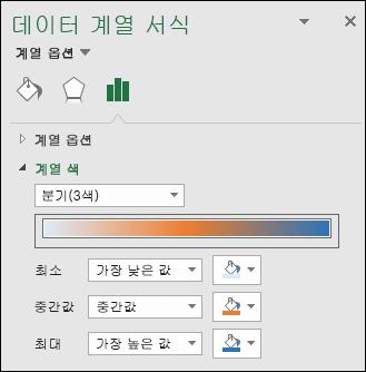 Excel 지도 차트 계열 색 옵션